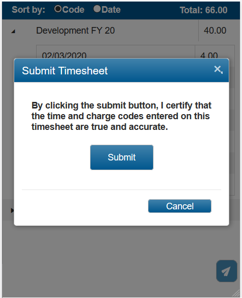 Submitting time in PROCAS timekeeping on phone or mobile device