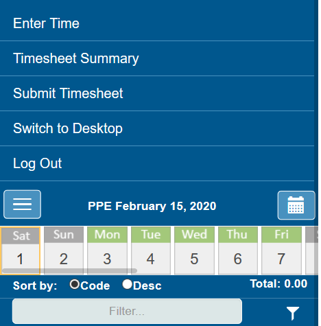 Additional options for PROCAS Timesheets on phone or mobile device